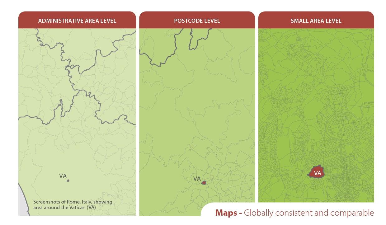 Gebietsgrenzen-MBI-Postleitzahlgrenzen-administrative Grenzen-mikrogeographische Grenzen