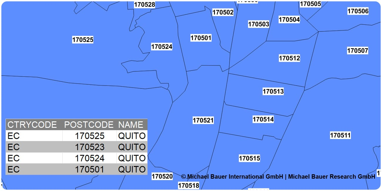 6-digit postcode boundaries Ecuador